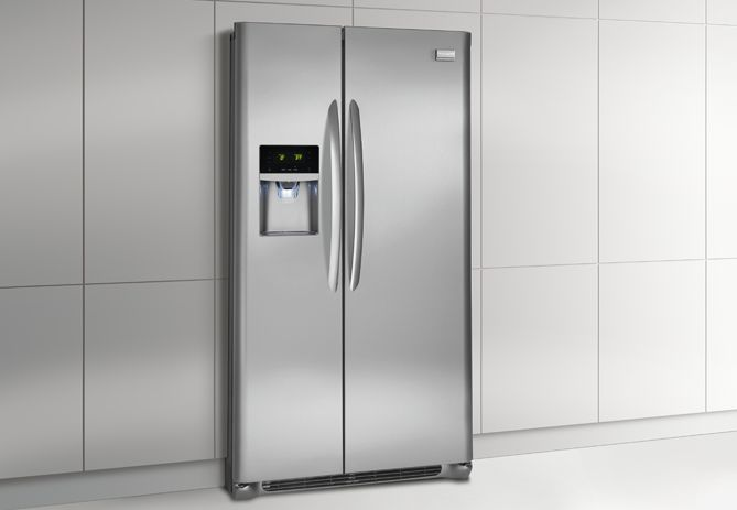 $1250.    Frigidaire Gallery 22.2 Cu. Ft. Counter-Depth Side-by-Side Refrigerator Stainless Steel - FGHC2331PF