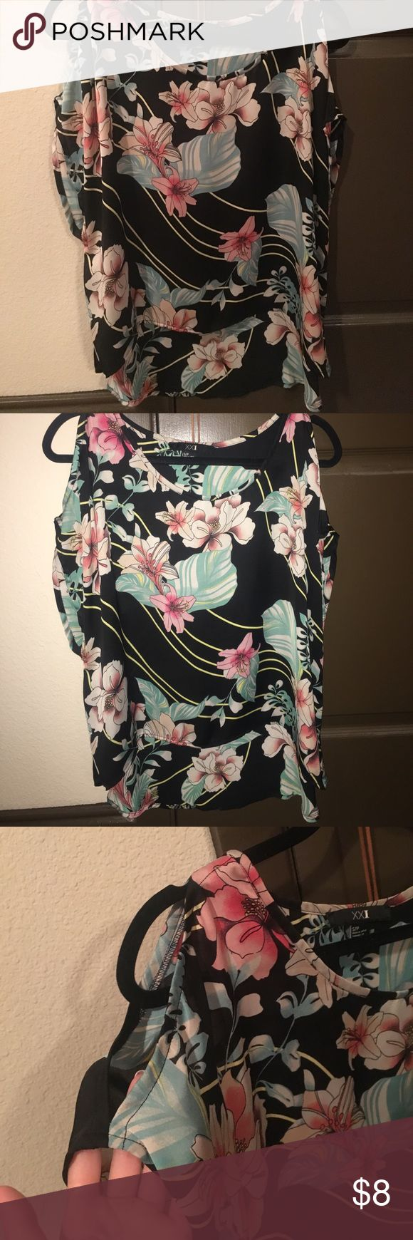 Asian/ tropical cold shoulder blouse Can use as a swim cover up Forever 21 Tops Blouses