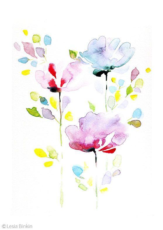 Pittura del fiore, fiore dell'acquerello, acquerello fiore stampato, astratto, arte del fiore, fiore viola, arte floreale stampa, watercolor