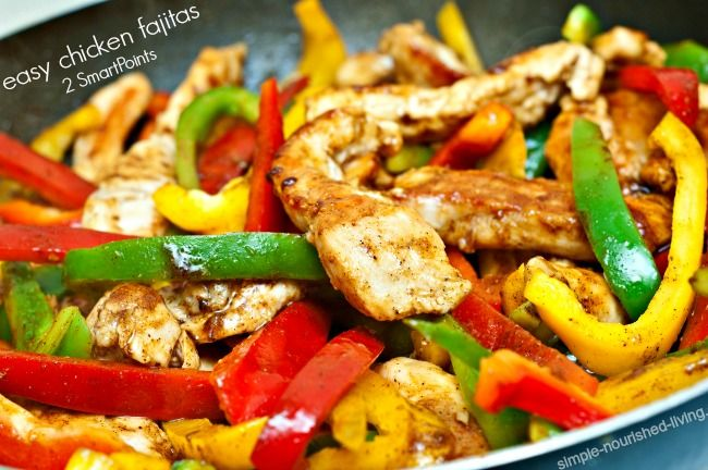 Easy Healthy Delicious Chicken Fajitas Recipe, Family Favorite Tex-Mex Dinner, Weight Watchers Smart Points Plus, nutritional information