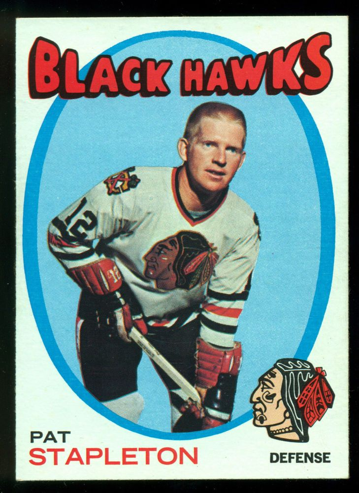 1971 72 TOPPS HOCKEY #25 PAT STAPLETON NM CHICAGO BLACK HAWKS FREE SHIP TO USA #ChicagoBlackhawks