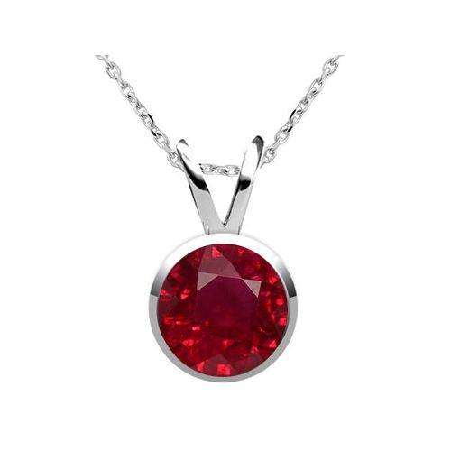 Diamantring / Diamantarmband / Diamantschmuck: Rubinanhänger 2.10 Karat Solitär aus 585er Weißgol...