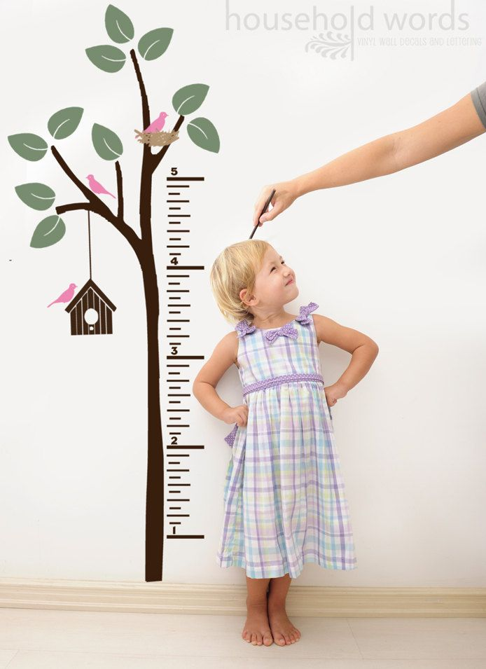 Growth chart childrens decor vinyl wall decal sticker for the playroom or bedroom. $49.00 USD, via Etsy.