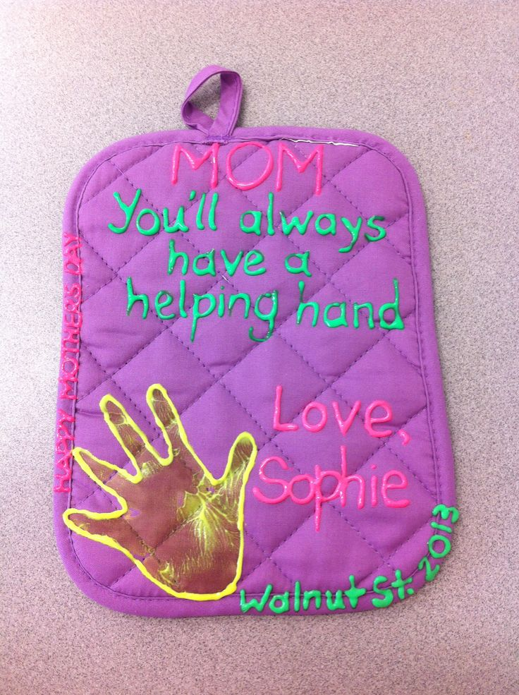 Mothers Day craft! This is what we made for our infant room mommys! (Hot pad & fabric paint)