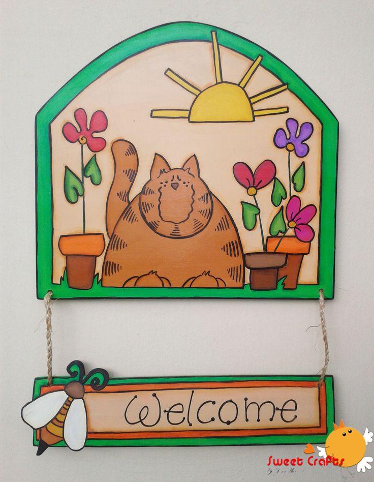 Letrero placa welcome gato en jard n la puerta de tu for Amaru en la puerta de un jardin