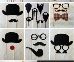 Photobooth props...add boas, strands of pearls, satin gloves, and hats for the ladies!