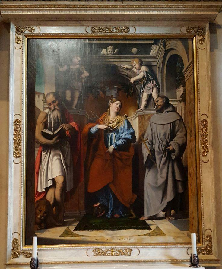 Chiesa di San Francesco d'Assisi  Santa Margherita d'Antiochia con i Santi Girolamo e Francesco d'Assisi Moretto 1530