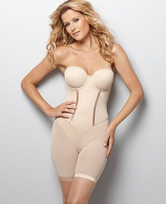 Bride's Wedding Underwear, Dress Undergarments, Bridal Support, Shapewear and Honeymoon Lingerie. Flexees Shapewear, Firm Control Easy Up Long Leg Strapless Bodybriefer 2356 - Womens Bridal Lingerie - Macy's
