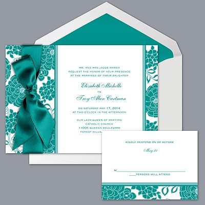 Floral Patterned - Jade - Invitation