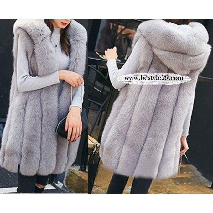 Manteau fausse fourrure à capuche sans manches  - bestyle29.com