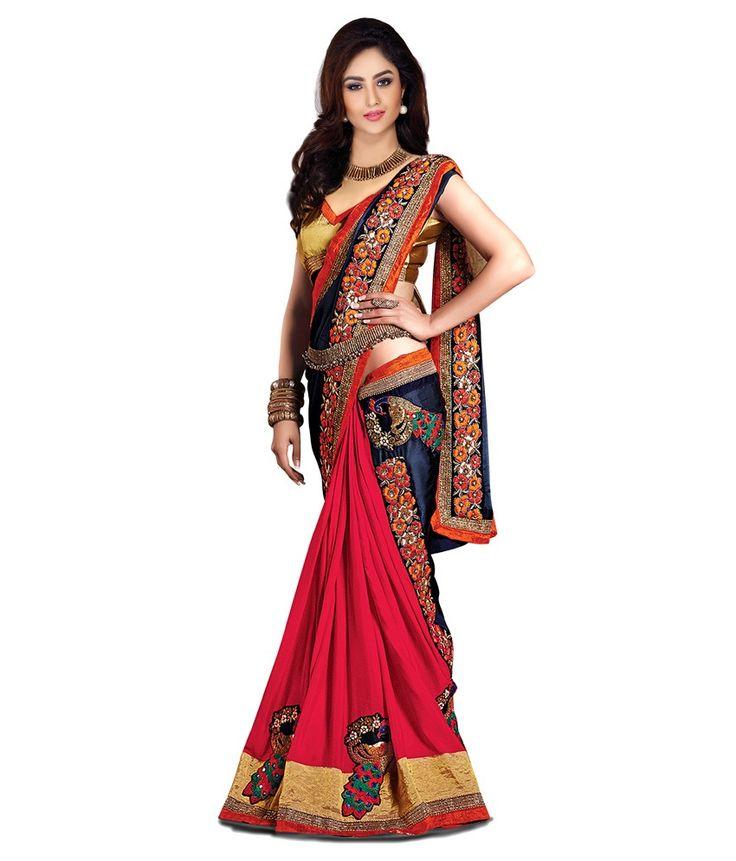 Jenny Multicoloured Satin Saree - http://weddingcollections.co.in/product/jenny-multicoloured-satin-saree/
