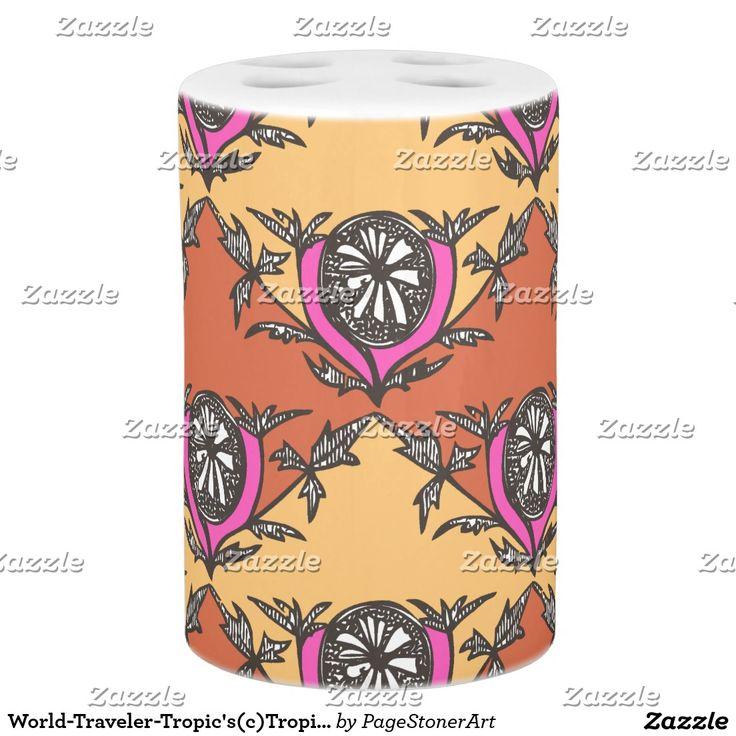 World-Traveler-Tropic's(c)Tropic's Sunset Soap Dispenser And Toothbrush Holder