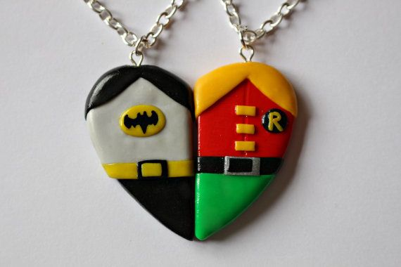 Batman and Robin Friendship Necklaces or by CharmingClayCreation, £10.00