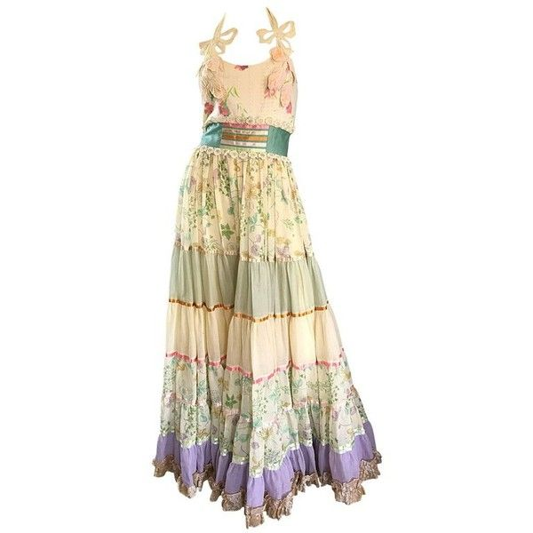 Preowned Giorgio Di Sant Angelo 1970s Rare Colorful Cotton Voile... ($2,575) ❤ liked on Polyvore featuring dresses, beige, maxi dresses, floral print dress, halter maxi dress, vintage floral dress, floral maxi dress and floral embroidery dress