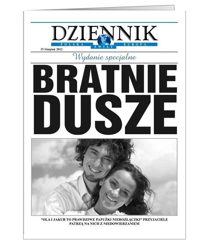 Kartka ślubna stylizowana na okładkę gazety, z możliwością dodania własnego zdjęcia