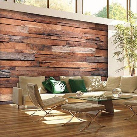 Net echt! Een fotobehang met houten planken sluit perfect aan bij de trend van sloophout in het interieur.