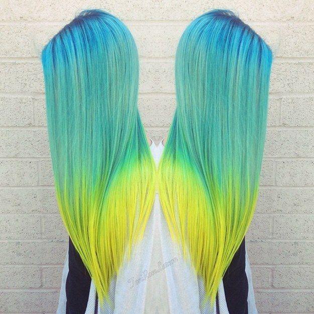 Le «dip-dye» fluorescent | 21 couleurs de cheveux pour avoir du peps en 2016
