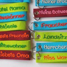 Schlüsselanhänger aus Filz mit Namen Namensanhänger personalisierte Schlüsselanhänger Weihnachtsgeschenk Geburtstagsgeschenk