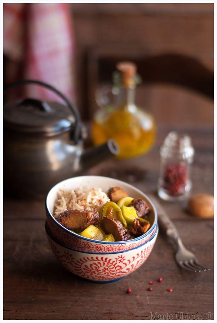 Wok de seitan au basmati complet et fondue de poireaux (Sans Lait, Sans Oeufs, Vegan, IG Bas )
