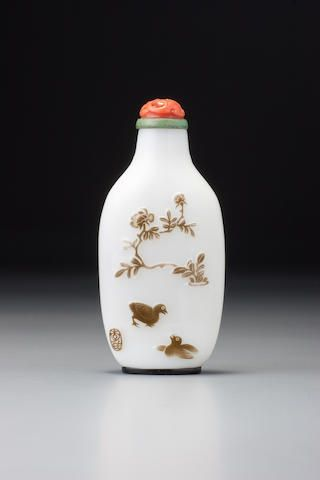An inscribed brown glass overlay snuff bottle Yangzhou, in the 1870s