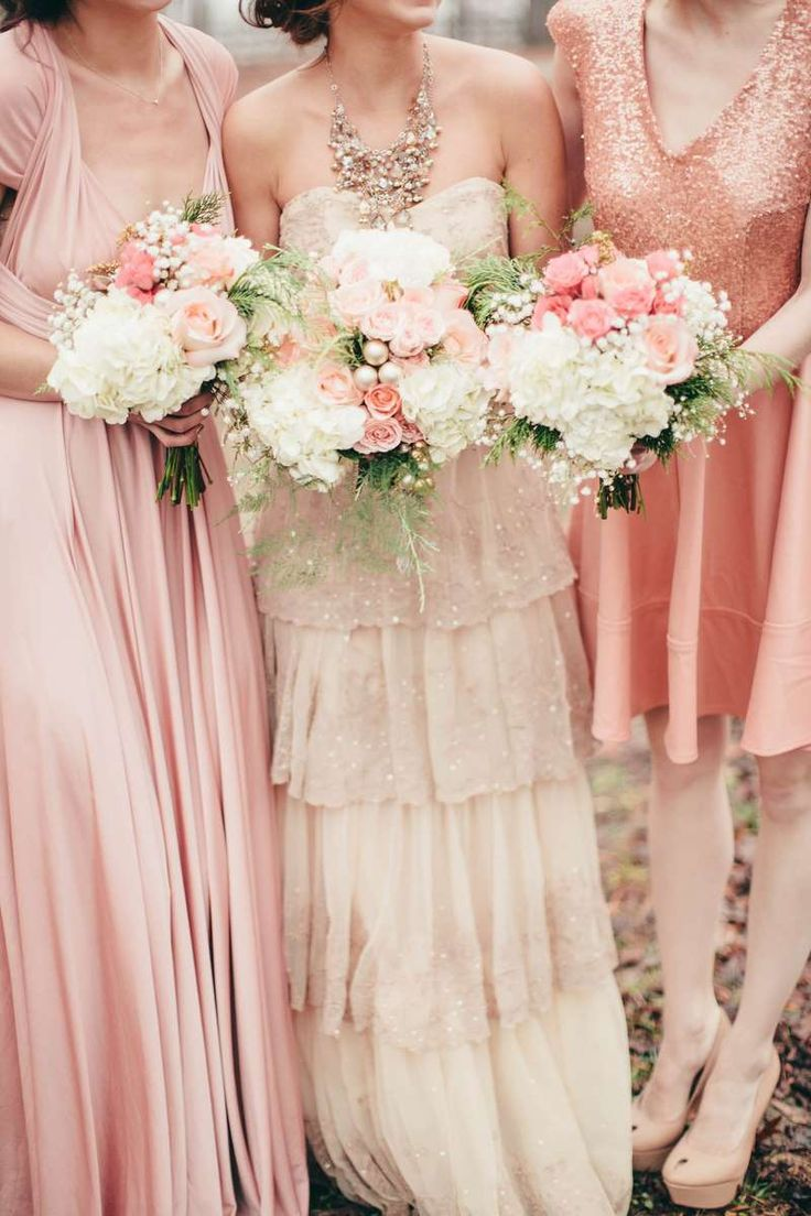 pink winter wedding inspiration, blush and gold bouquets, BHLDN Rosecliff gown