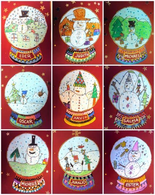 bola de neu, ninot de neu...Cute Christmas snow globe idea!