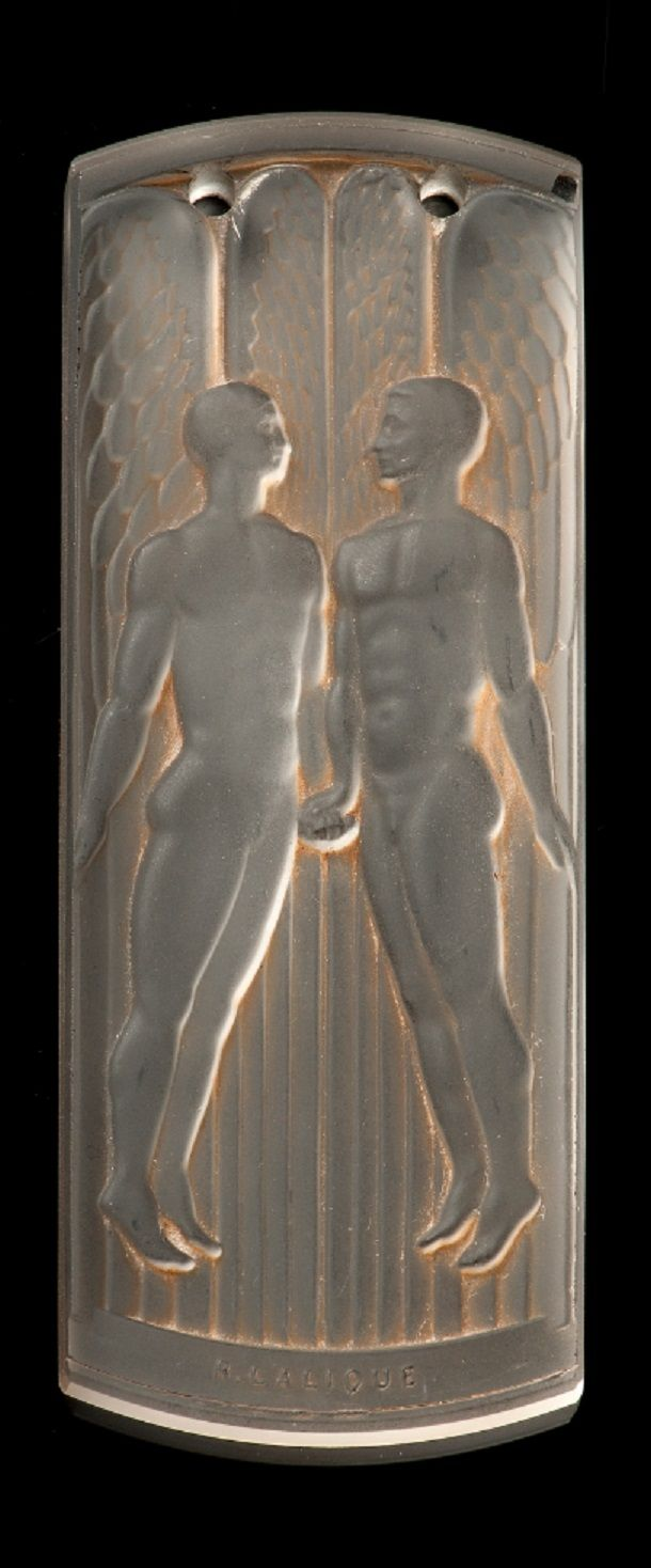 Lalique - An Art Deco glass medal. The rectangular moulded glass pendant with partially matted angels against a laquered background, sepia stained. Made for the Exposition Internationale des Arts et Techniques dans la Vie Moderne, circa 1937. 9.5 x 3.7cm. #Lalique #ArtDeco