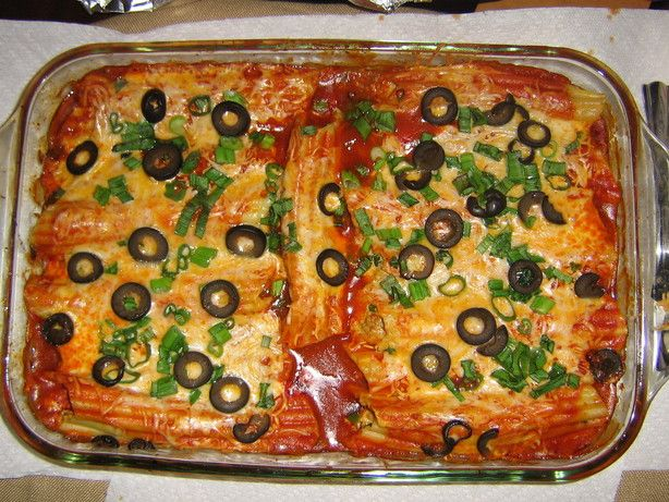 Mexican Manicotti from Food.com:   Make this in the morning, bake it that evening. A hearty entree. Our vegetarians can leave out the meat, with great results.