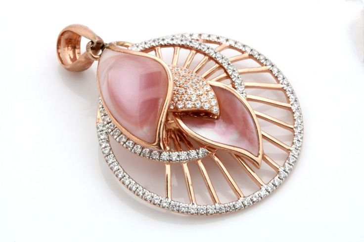 Spectacular Natural Pink Shell Pendant with 1.42 Ct Diamond, 925 Sterling Silver #FacetsJewels #NaturalPinkSEAShellPendant