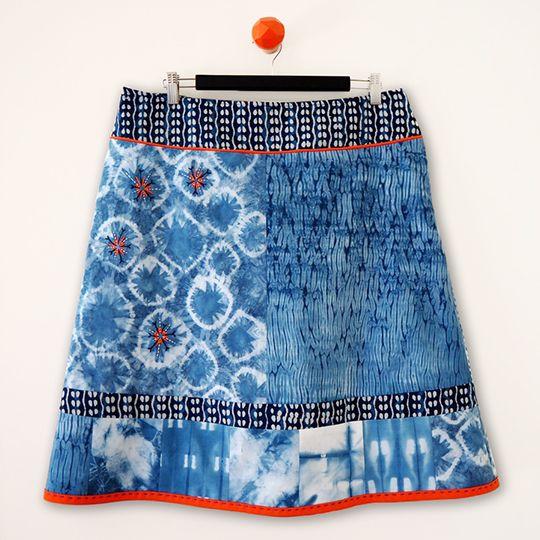 Shibori indigo dyed kantha embroidered skirt front