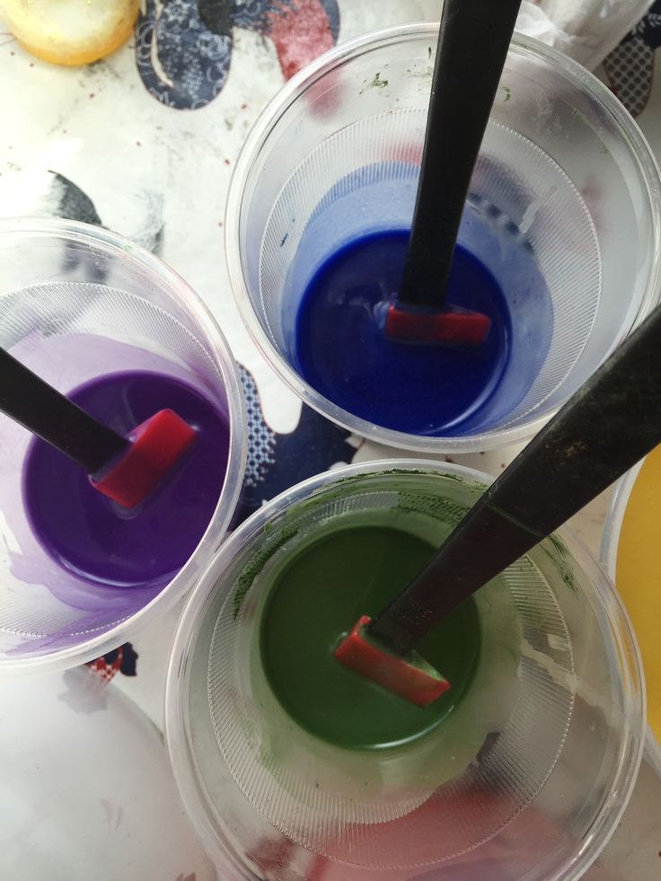 I used smaller quantities of green, blue and purple.