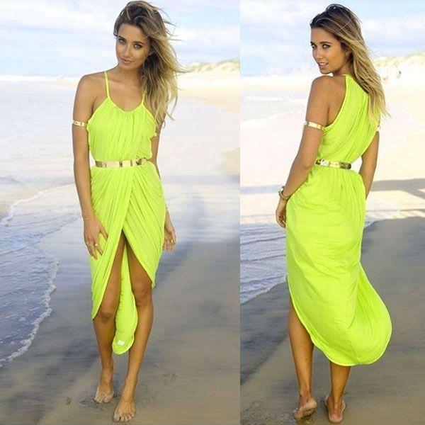 Vestido Largo verde limon