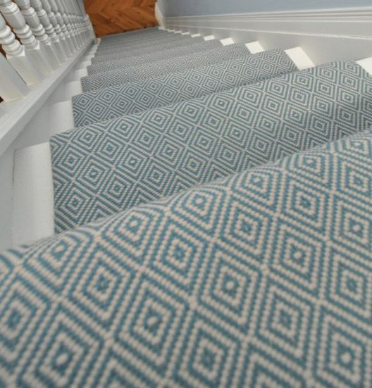 Diamond Flatweave Blue Stair Runner by Hartley and Tissier