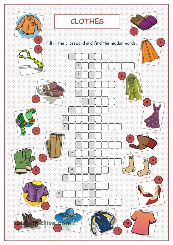 Clothes Crossword Puzzle                                                                                                                                                                                 More