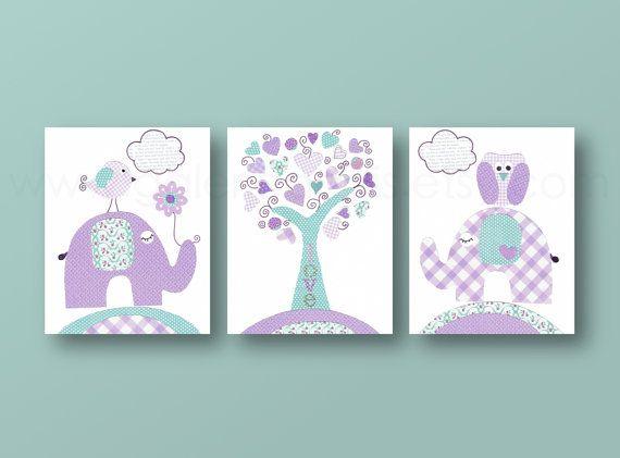 Aqua lavender purple Kids wall art baby nursery decor nursery art tree owl elephant bird girls room Set of 3 Prints - Tree Of Love