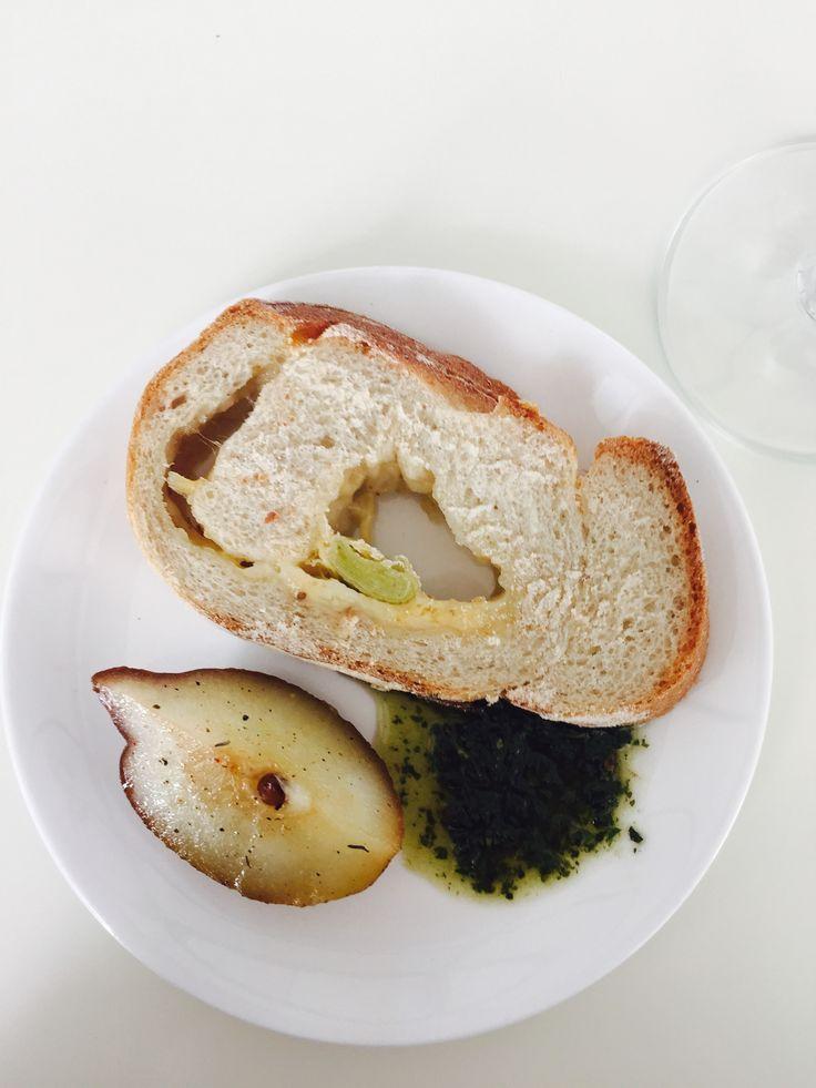 Babel's freshly baked bread, pesto, baked pears with honey and olive oil - Babylonstoren. #GourmetAfrica #foodie