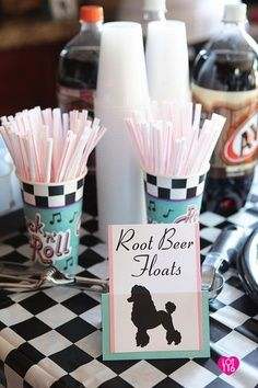 50's theme party decoration ideas - Root Beer float station