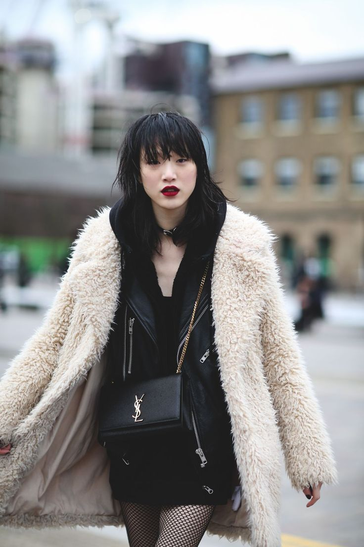 The Best Street Style At LFW AW16 #refinery29  http://www.refinery29.uk/2016/02/103500/street-style-london-fashion-week-aw16-news#slide-81  We're really into this red-wine-stain lip and gothic chic. ...