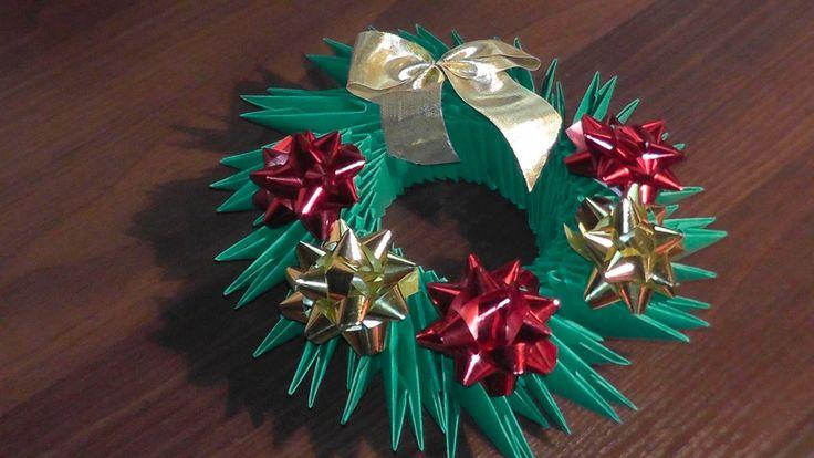 3D origami Christmas wreath tutorial