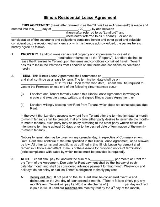 Free Illinois Rental Lease Agreements Residential  Commercial