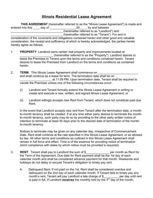 Free Illinois Rental Lease Agreements Residential  Commercial - Residential Rental Agreement