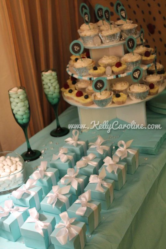 Breakfast at tiffanys party favors and dessert table for Table 52 dessert