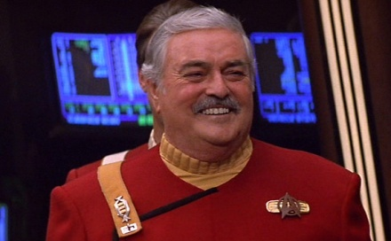 """Scotty's last film appearance, in """"Generations."""" He never lost that grin.Born: March 3, 1920, Vancouver, Canada Died: July 20, 2005,"""