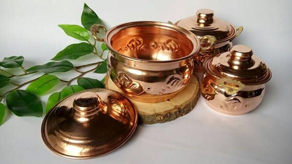 Copper canisters set of 3 spice jarskitchen decor