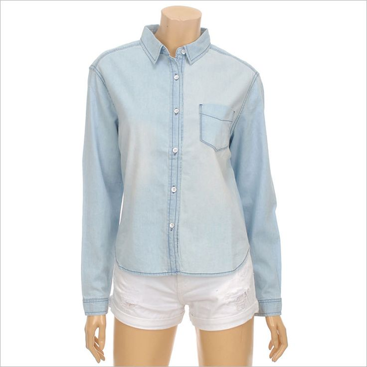 Topten10 Women's Fashion Casual Denim Mini Pocket Button Long Sleeve Shirts #Topten10 #ButtonDownShirt #Casual