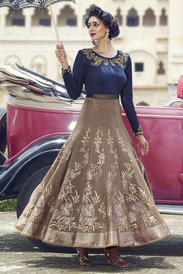 Buy this fabulous suit at a FLAT 15% off for a limited time only on our website! Click to buy Anarkali Suits - http://www.aishwaryadesignstudio.com/stylish-blue-gold-designer-anarkali
