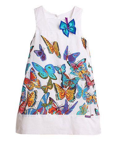 Loving this White & Blue Butterflies Dress - Toddler & Girls on #zulily! #zulilyfinds