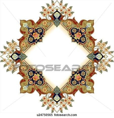 Green, red and black floral diamond Arabesque frame View Large Clip Art Graphic