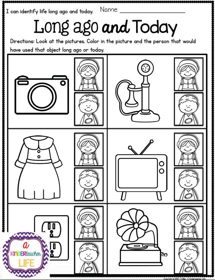 Social Studies Life Long ago and Today for kindergarten/1st grade - Color in the picture of the person that would have used the object long ago or today