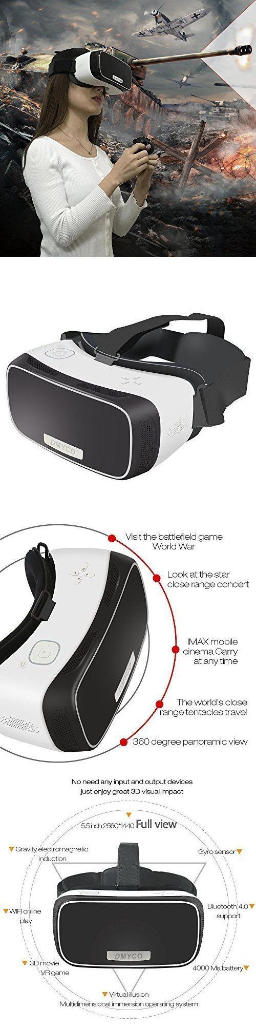 PC and Console VR Headsets: Ps4 Xbox Vr Virtual Reality 3D Headset Glasses 1080P Hdmi Wifi 360 View Youtube -> BUY IT NOW ONLY: $249.9 on eBay!